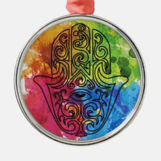 Wellcoda Vibrant Indian Symbol Asian Life Silver-Colored Round Decoration