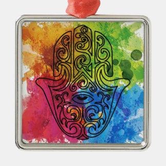 Wellcoda Vibrant Indian Symbol Asian Life Silver-Colored Square Decoration