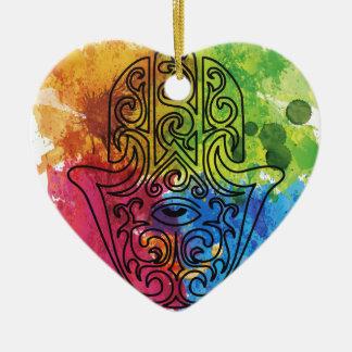 Wellcoda Vibrant Indian Symbol Asian Life Ceramic Heart Decoration