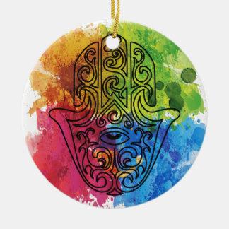 Wellcoda Vibrant Indian Symbol Asian Life Round Ceramic Decoration