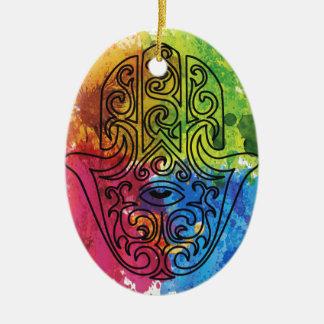 Wellcoda Vibrant Indian Symbol Asian Life Ceramic Oval Decoration