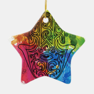 Wellcoda Vibrant Indian Symbol Asian Life Ceramic Star Decoration