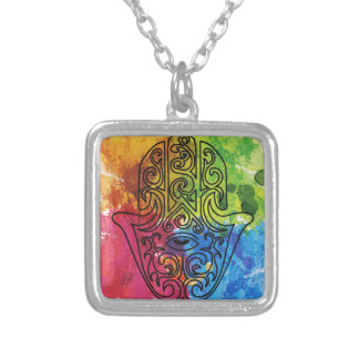 Wellcoda Vibrant Indian Symbol Asian Life Square Pendant Necklace