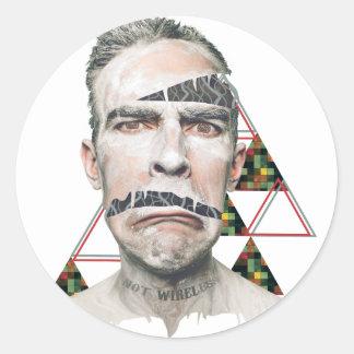 Wellcoda Wifi Wireless Human Sad Face Round Sticker