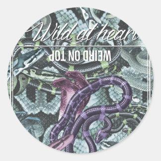 Wellcoda Wild At Heart Snakes Cobra Venom Round Sticker