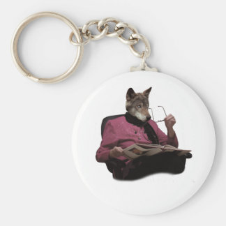 Wellcoda Wolf Head Grandmother Mutant Basic Round Button Key Ring
