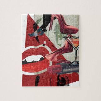 Wellcoda Women Red Lip Fashion Glamour Jigsaw Puzzle