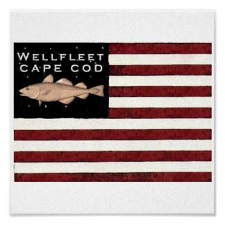 Wellfleet, Cape Cod Flag Canvas Poster