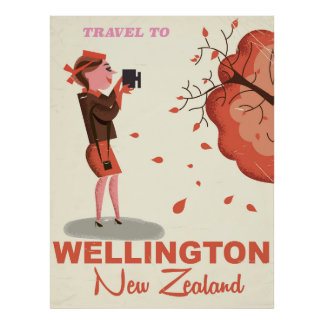 Wellington New Zealand vintage style travel poster