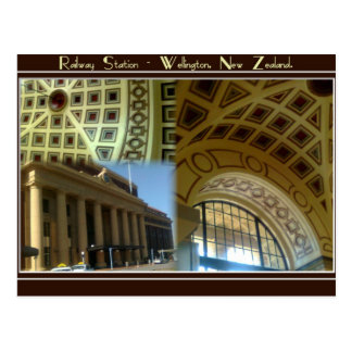 Wellington Railway Station - New Zealand. Postcard