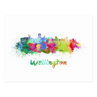 Wellington skyline in watercolor postcard