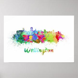 Wellington skyline in watercolor poster