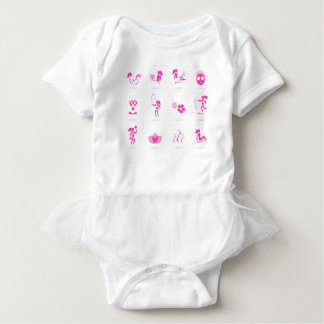 Wellness icons pink on white baby bodysuit