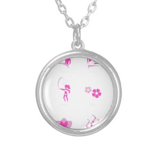 Wellness icons pink on white silver plated necklace