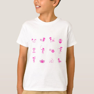 Wellness icons pink on white T-Shirt