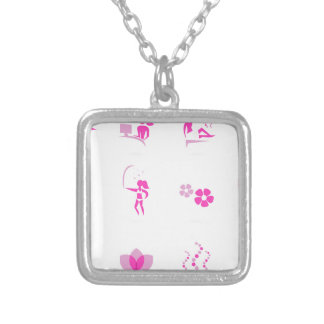Wellness icons pink silver plated necklace