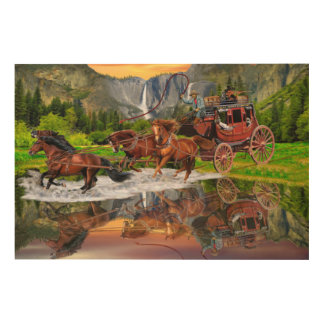 WELLS FARGO STAGECOACH WOOD WALL ART