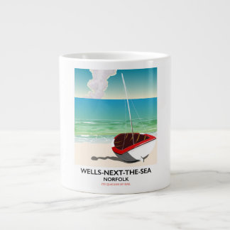 Wells-next-the-Sea Norfolk Beach travel poster Large Coffee Mug