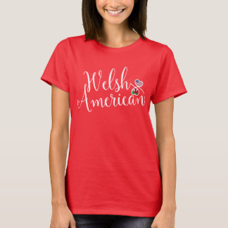 Welsh American Entwinted Hearts Tshirt