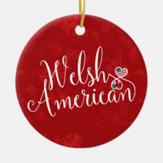 Welsh American Hearts Christmas Tree Ornament