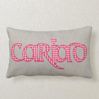 Welsh Cariad Gingham Text Design on Faux Burlap Lumbar Cushion