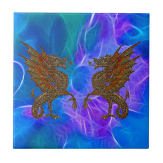 Welsh Celtic Dragons in Gold on Blues III Ceramic Tile
