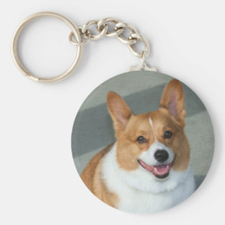Welsh Corgi Basic Round Button Key Ring