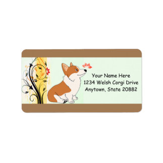 Welsh Corgi Cartoon Label