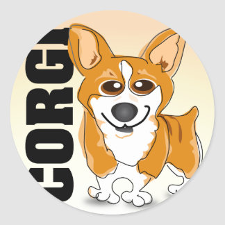 Welsh Corgi Dog Art Classic Round Sticker