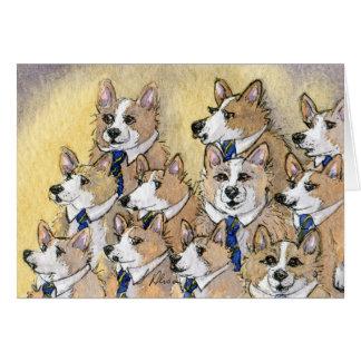 Welsh Corgi dog howl choir Card