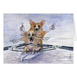 Welsh Corgi dog rowing Card