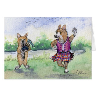 Welsh Corgi dog Scottish dancing Card