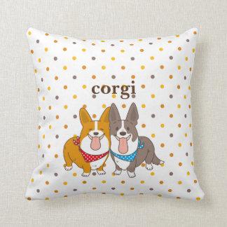 welsh corgi dot cushion