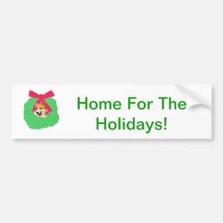 Welsh Corgi Holiday Christmas Wreath Bumper Sticker