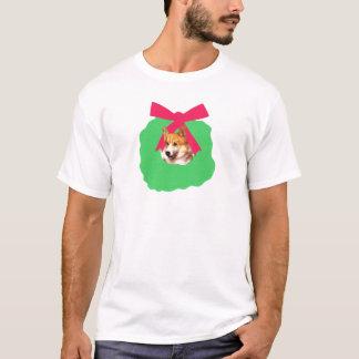 Welsh Corgi Holiday Christmas Wreath T-Shirt