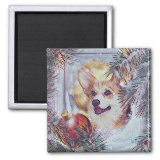 Welsh Corgi in Winter Window Magnet