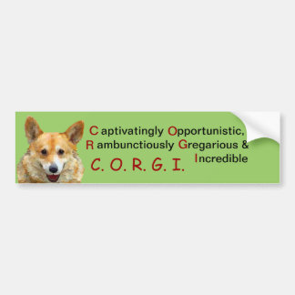 "Welsh Corgi ""Jazz"" Fences For Fido BUMPERSTICKER Bumper Sticker"