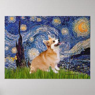 Welsh Corgi Pembroke -  Starry Night Poster