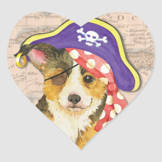Welsh Corgi Pirate Heart Sticker