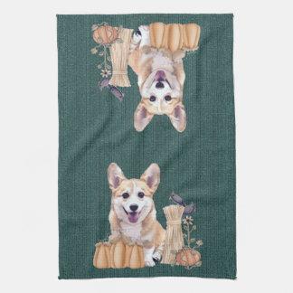 Welsh Corgi Puppy in Autumn Tea Towel