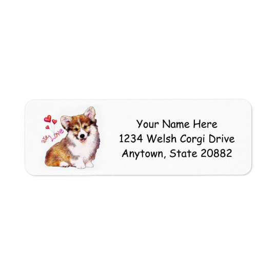 Welsh Corgi Puppy with Hearts Return Address Label