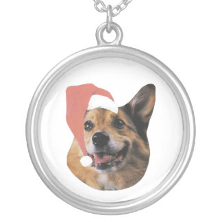 Welsh Corgi Santa Hat Silver Plated Necklace