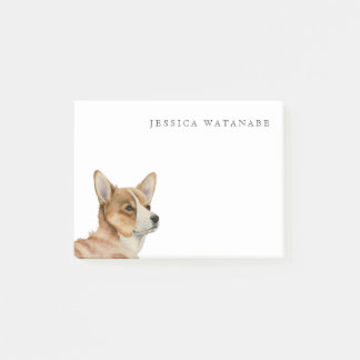 Welsh Corgi Watercolor Painting with Name Post-it Notes
