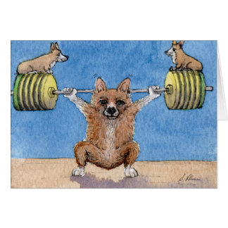 Welsh Corgi weight lifting Card
