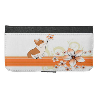 Welsh Corgi with Flower Cartoon iPhone 6/6s Plus Wallet Case