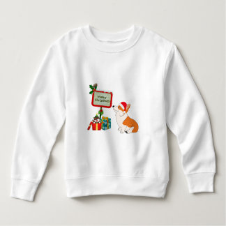Welsh Corgi with Santa Hat and Sign Sweatshirt