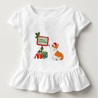 Welsh Corgi with Santa Hat and Sign Toddler T-Shirt