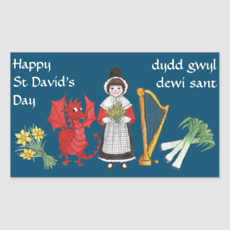 Welsh Costume, Emblems, St David's Day Stickers