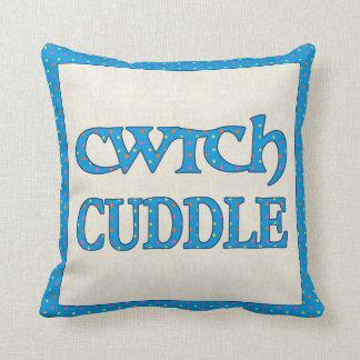 Welsh Cwtch Throw Pillow, Cushion, Polkas on Blue Cushion