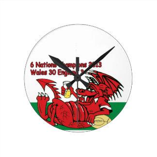 Welsh Dragon 6 Nations Champions Wales v England Round Wallclock
